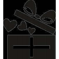 Открытая подарочная упаковка с сердечками