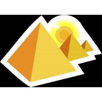 Солнце садящееся за пирамиды