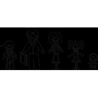 Семья - папа, мама, два сына, дочь