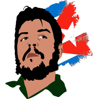 Эрнесто Че Гевара на фоне кубинского флага