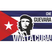 Эрнесто Че Гевара на фоне кубинского флага Viva la Cuba!