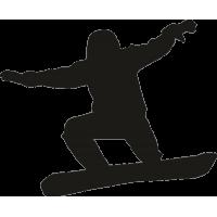 Парень на сноуборде во время движения с расставленными руками