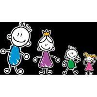 Семья - папа, мама, сын, дочь
