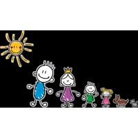 Семья - Семья - папа, мама, сын, дочь, собака, кот, солнце