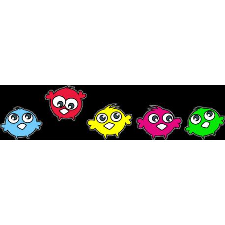 Семья разноцветных птичек