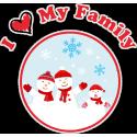 Семья снеговиков и надпись I love My Family
