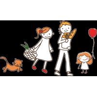 Семья - папа, мама, дочь, кошка