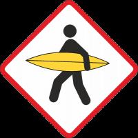Знак осторожно серферы