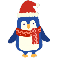 Пингвин в новогодней шапке и шарфе