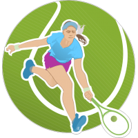 Теннисистка с ракеткой и мячём