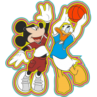Миккимаус и Дональд играют в баскетбол