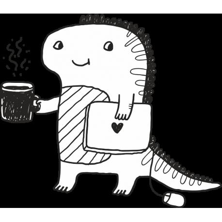 Дракон с ноутбуком и кофе