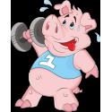 Свинья с гантелями