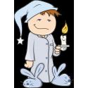 Мальчик в пижаме со свечой