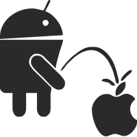 Андроид писает на яблоко эпл