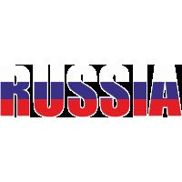 Флаг России на буквах RUSSIA