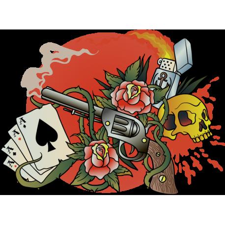 Классическое Тату Карты Череп Зажигалка Пистолет