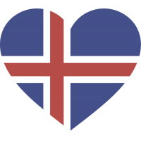 Сердце Флаг Исландии (Исландский Флаг в форме сердца)