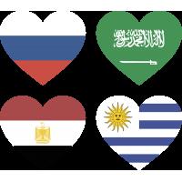 Тату Набор Группа А (Сердца-Флаги Стран Участников Чемпионата Мира По Футболу 2018)
