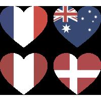 Тату Набор Группа C (Сердца-Флаги Стран Участников Чемпионата Мира По Футболу 2018)