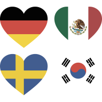 Тату Набор Группа Ф (Сердца-Флаги Стран Участников Чемпионата Мира По Футболу 2018)