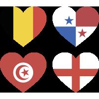 Тату Набор Группа Г (Сердца-Флаги Стран Участников Чемпионата Мира По Футболу 2018)