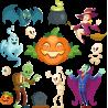 Набор наклеек персонажи На Хэллоуин